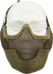 Kaki Fostex Airsoft beschermingsmasker en oorbescherming khaki