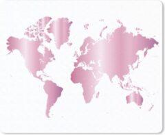 MousePadParadise Muismat Eigen wereldkaarten - Wereldkaart Rose Goud muismat rubber - 23x19 cm - Muismat met foto