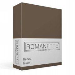 Romanette Flanellen Laken - 100% Geruwde Flanel-katoen - Lits-jumeaux (240x260 Cm) - Taupe
