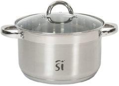 Zilveren San Ignacio Luxe RVS kookpan/pan Loa met glazen deksel 22 cm 9 liter - Kookpannen/aardappelpan - Koken - Keukengerei