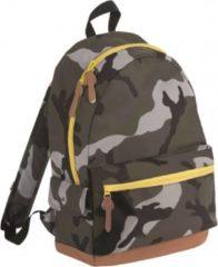 Sols Junior camouflage schooltas rugtas/rugzak 42 cm - 16 liter A4-formaat - Schooltas - Laptoptas/boekentas zwart