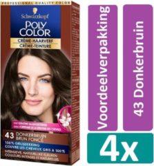 Schwarzkopf Poly Color 43 Donkerbruin Haarverf 4 stuks Voordeelverpakking