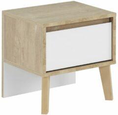 Gamillo Furniture Nachtkastje Larvik 41 cm hoog in eiken met wit