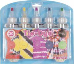 Paarse Crafts & Co Tie Dye Kit - Creëer Je Eigen Unieke Kleding - Textielverf - 5 Knijpflesjes - Tie Dye Verf - Kleurenset Regenboog