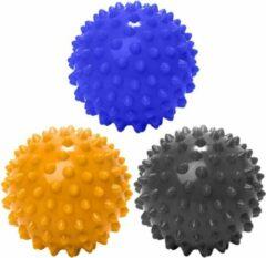 #DoYourFitness - 3 delige set massagebal - »Nica« - Lacrosse Bal / Fasciaball voor effectieve zelfmassage van triggerpoints - diameter 10cm - marineblauw/geel/zwart