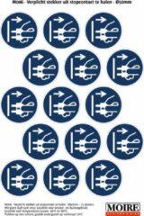 Blauwe Moire BV Pictogram sticker 75 stuks M006 - Verplicht stekker uit stopcontact te halen - 50 x 50mm - 15 stickers op 1 vel