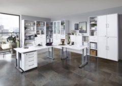 Bürokombination Brillant weiss mit Schreibtischwinkelkombination und Aktenschränken FMD aivlac