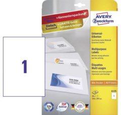 Avery-Zweckform 6125 Etiketten 210 x 297 mm Papier Wit 10 stuk(s) Permanent Universele etiketten Inkt, Laser, Kopie 10 vel