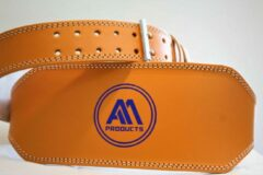 AA Fitness Gear 6 Inch Oranje Gewichthef riem halteband leer fitness band gym training powerlifting straps - XL