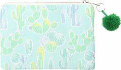 Groene Yehwang Trendy Make-up / clutch tasje met een pompoen en zomerse print - van binnen gevoerd en een ruim vak - het handige tasje wordt afgesloten met een rits - voor uzelf of Bestel Een Kado