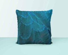 ByCristianne Kussenhoes - Blauwe veren - Pauw veren - 40 x 40 cm - Woon accessoire
