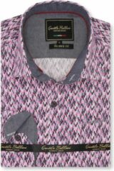 Gentile Bellini Heren Overhemd - Slim Fit - Tetris Mosaik - Roze - Maat XXL