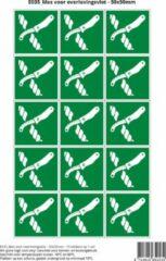 Groene Stickerkoning Pictogram sticker E035 Mes voor overlevingsvlot - 50x50mm 15 stickers op 1 vel