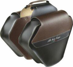 Selle Monte Grappa Fashion Dubbele Fietstas - Kunstleer - 33 Liter - Zwart / Donkerbruin
