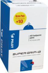 Pilot balpen Super Grip G fijn met dop, value pack met 30 + 10 stuks in 3 geassorteerde kleuren