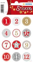 HERMA 15254 Stickers adventkalender stickers 1-24, rood Ø 2 cm