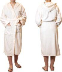 Beige Sorprese badjas – Teddy Microfleece – off white – badjas dames – maat L/XL – met capuchon