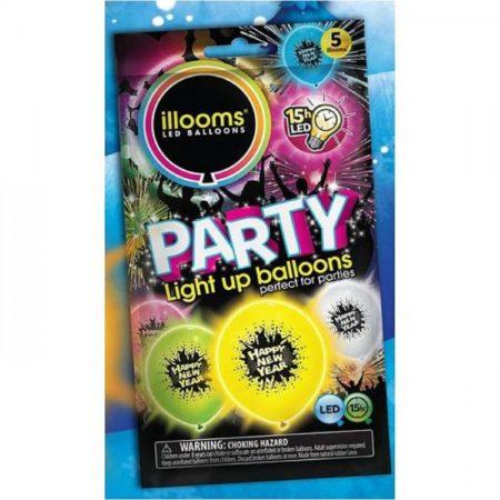 Afbeelding van BOTI Illooms - Gelukkig Nieuwjaar, Gemengde Displaydozen, 18 Stuks Van 5 Ballonnen (Roze, Groen, Geel, Wit, Blauw)