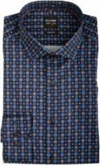 OLYMP Level 5 Body Fit overhemd - blauw met bruin dessin - Strijkvriendelijk - Boordmaat: 40