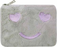 Yehwang Vrolijk Make-up tasje grijs met ritssluiting - lekker zacht - handig mee te nemen - koop hem voor uzelf of Bestel Een Kado