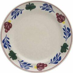 Creme witte Boerenbont Gebaksbord diameter 17.5cm, pak a 6 stuks, aardewerk