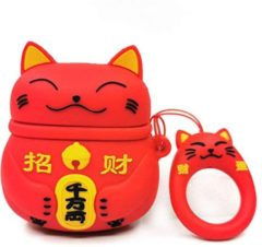 GSMSCHERM Kapot © Cartoon Silicone Case voor Apple Airpods - Chinese lucky cat - rood