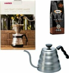 Hario V60 slow coffee kit + Hario V60 Buono Waterketel 1.2 liter + Bristot Diamante 100% Arabica gemalen koffie
