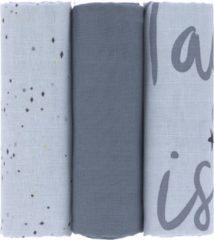 Blauwe Lässig Swaddle & Burp Blanket 85x85cm more magic seal 3 stuks