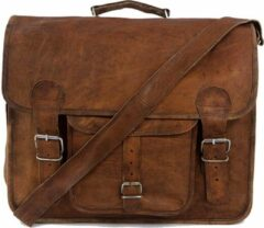 Laptoptas 16 '' Messengertas Bruin Echt Leer - ECHTE LEDER Boekentas - Schoudertas A4 Granada R16 - Vintage Look