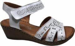 Manlisa dames velcro sandaal wit
