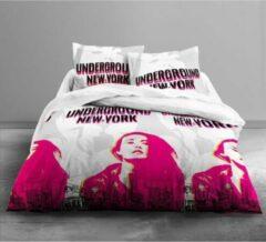 Today VANDAAG Alleen Underground Love Dekbedset - 1 dekbedovertrek 220x240 cm + 2 kussenslopen 63x63 cm wit, grijs en roze