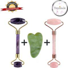 Roze Demiracle Amethist en Rose Quartz Face Roller met Gua Sha Jade schraper – Gezichtsmassage – Massagetools – Massage - Ontspanning – Kwaliteit