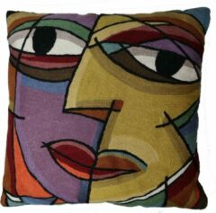 Paarse Lailasboutique Kussen Picasso face links