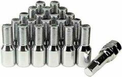 RR Wielbouten - M12 x 1,25 - 28mm - Zilver bouten - 20 stuks plus Sleutel