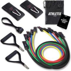 Rode Athletix® - Weerstandsbanden XL Set - Handvaten - Enkelbanden - Gratis Draagtas & Oefeningen - 5 Resistance bands