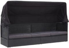 VidaXL Loungebank met luifel poly rattan zwart VDXL 46092