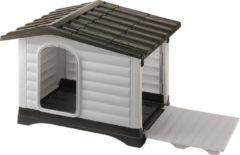 Antraciet-grijze Ferplast Dogvilla Hondenhok 90 - Grijs/Bruin - 88 x 72 x 65 cm