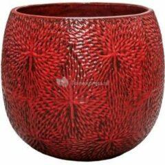Donkerrode Ter Steege Pot Marly Deep Red ronde rode bloempot voor binnen en buiten 54x48 cm