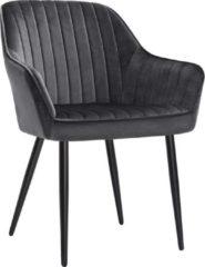Grijze Nancy's Spokane Eetkamerstoel - Moderne en Elegante Vrijetijdsstoel - Eetkamerstoelen - Metalen Poten - Groen - 62,5 x 60 x 85 cm (L x B x H)