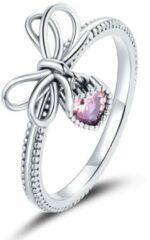 Mijn bedels Sterling zilveren ring Strik met hart