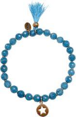 Blauwe CO88 Collection 8CB-40012 - Rekarmband met bedels - Agaat natuursteen 6 mm - ster en kwast - one-size - turquoise / blauw / zilverkleurig