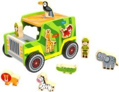 Tooky Toy Terreinwagen Safari Jongens 26 Cm Hout Groen 10-delig