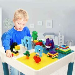 Blauwe Kidsidee Kindertafel en 2 Stoeltjes met 4 Bakjes en 56 Bouwblokken - Speeltafel -Blokkentafel - Constructiespeelgoed Kinderen - Constructie Speelgoed Jongens en Meisjes 3, 4, 5, 6 Jaar - Geschikt voor Duplo Bouwstenen