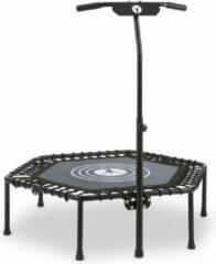 """Klarfit Jumpanatic fitnesstrampoline 44"""" / 112 cm Ø grijpstangen klapbaar zwart"""