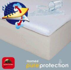 Witte Homéé®pure'protection Homéé ® Topper Molton flanel hoeslaken waterdicht PU 90x200/10cm 100% geruwd katoen 220g. p/m2