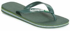 Havaianas Brasil Logo Unisex Slippers - groen Olive - Maat 33/34