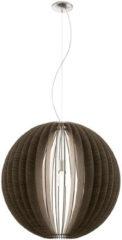Grijze EGLO Cossano Hanglamp - 1 Lichts - Ø700mm. Nikkel-Mat - Donkerbruin