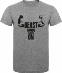 Grijze ByKemme Fitness T-Shirt - Gym T-shirt - Work Out T-shirt - Sport T-Shirt - Regular Fit T-Shirt - Beast Mode Always On - Sports Grey - Maat L
