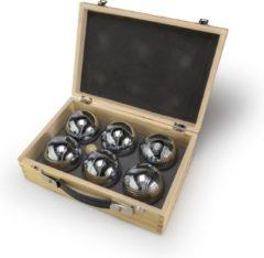 Zilveren Tactic Pétanque in een houten doos 3-delig