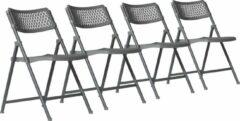 Antraciet-grijze Van Vugt Event Products Klapstoel Aran - Grijs - Set van 4 - Eenvoudig inklapbaar - Modern design
